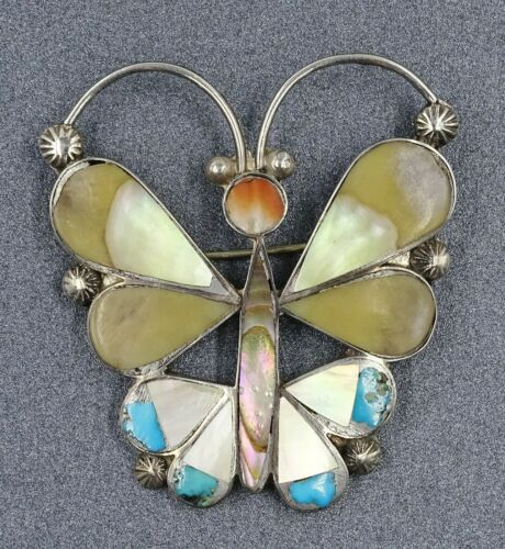 Womens Brooch Mother of Pearl Abalone Paua & Sterling Silver Butterfly Jewellery