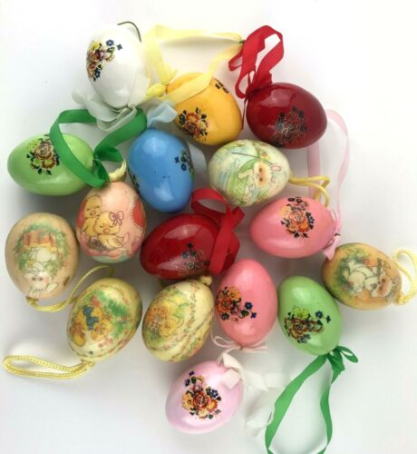 16 Paper Mache Egg Shaped Ornaments Christmas Floral Bunny Chicks