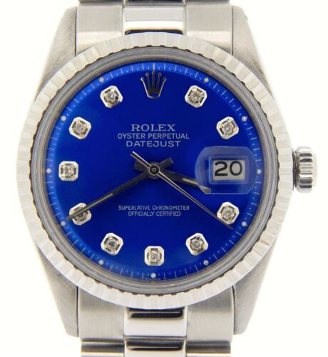 Rolex - Mens Rolex Datejust Stainless Steel Watch President Style Band Blue Diamond Dial