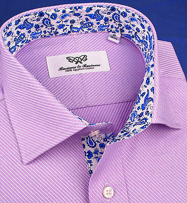 Sexy Lilac Twill Blue Paisley Formal Business Dress Shirt Luxury Fashion Apparel