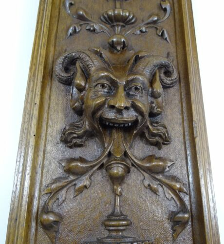 """21"""" Antique French Panel Solid Walnut Wood Hand Carved - Green Man -Renaissance2"""