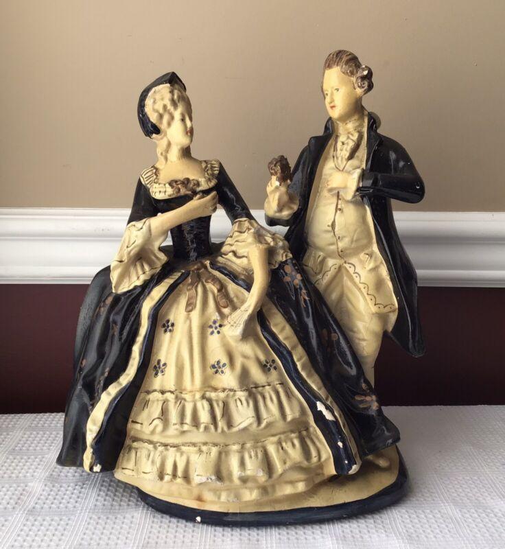 "Antique XL Victorian Style Ceramic Figurine Of A Gentleman & Lady, 13 X 10 X 7"""