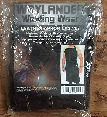 Waylander Welding Leather Apron La2745 Hemmed With Kevlar Quality Cow Leather
