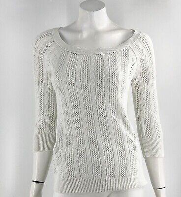 American Eagle Sweater Size Medium White Pointelle Open Knit Boat Neck Womens Open Knit Boat Neck