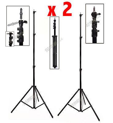 2 Stands Caballetes Luces Flash Telones de Fondo 280 Cm. Neumáticos Profesional