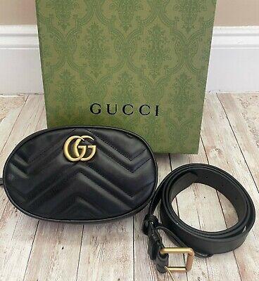 Gucci Marmont GG Black Matelasse Belt Bag Size 95