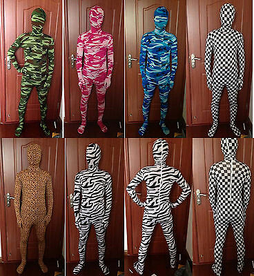 Full Body Animal Costumes (Full Body Lycra Spandex Party Zentai Costumes Camo Patterns Animals)
