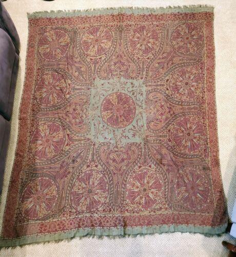 Antique Kashmir Paisley Green Background Moon Shawl Hand Loom Wool