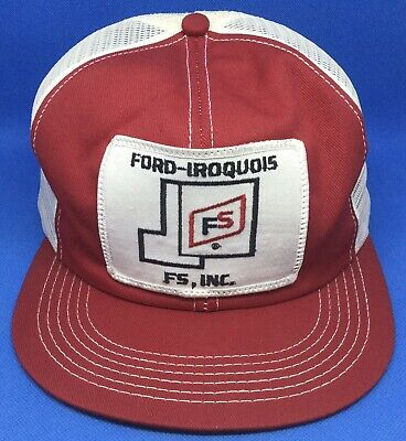 Vintage K-Products FS Ford Iroquois Trucker Snapback Hat! Farmer Patch Cap! USA!