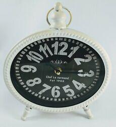 Desktop Tabletop Wall Clock Chef de normand 92201 antique vintage off white