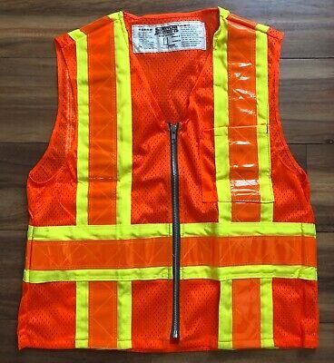 Safetyline Safety Vest Orange Zipper 3m Reflective Size Small