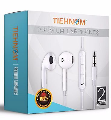 2-Pack Earbuds Headphones Headset Earphones with mic And Volume Control  *SEALED (2 Headset Pack)