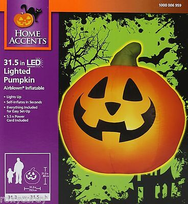 Halloween Home Accents 31.5 inch LED Lighted Orange Pumpkin Airblown Inflatable