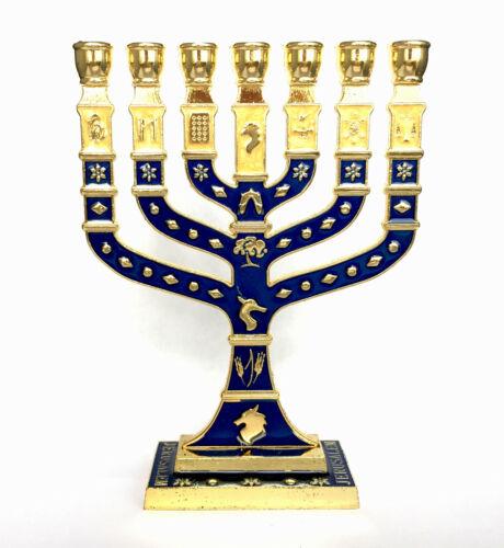 "7 Branch 12 Tribes Dark Blue & Gold Enamel Menorah 4.75"""