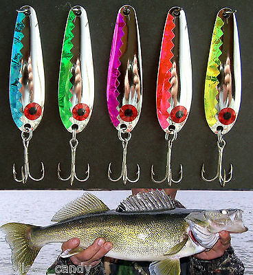 """2 5//8/"""" Trolling Spoons NKL Hammered Walleye Candy CPR  Smooth GLD"""