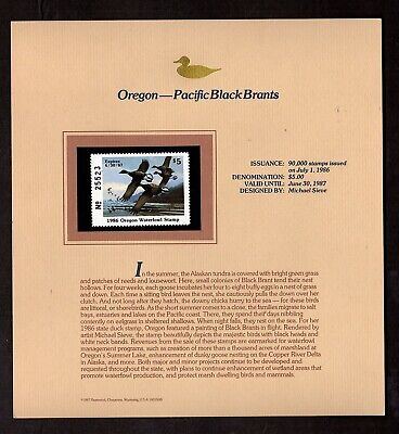OREGON: PACIFIC BLACK BRANTS STATE DUCK STAMP 1986 ON  DISPLAY PAGE, MINT NH(d2) - Pacific Black Duck