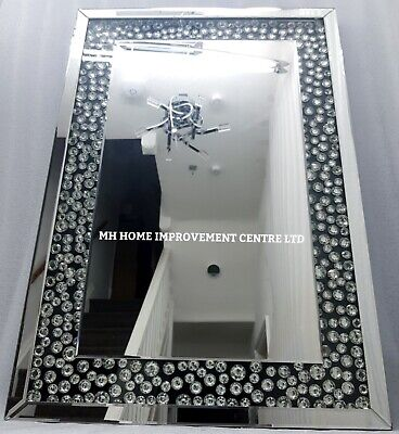 Brillante Negro Plata Pared Grande Espejo Diamante Flotante Cristal Diseño