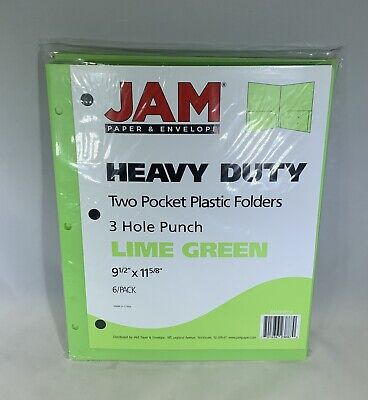 Jam Paper Heavy Duty Plastic 3 Hole Punch School Folders With Pockets -new