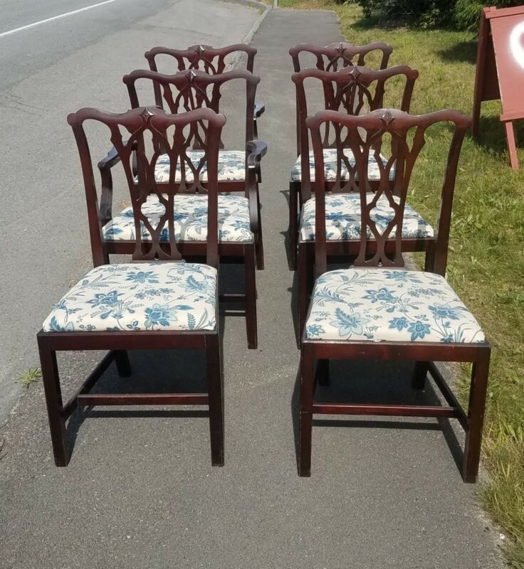 SET OF 6 CUSTOM MAHOGANY CHIPPENDALE STYLE DINING CHAIRS