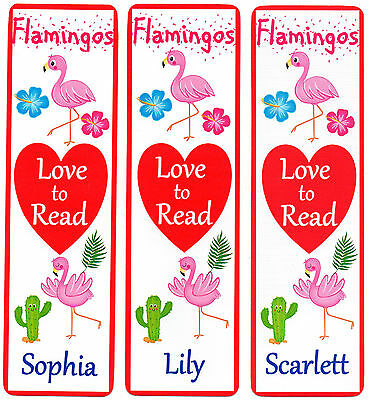 3 CHILDRENS PERSONALISED BOOKMARKS,FLAMINGOS LOVE TO READ.18cm x5cm laminated