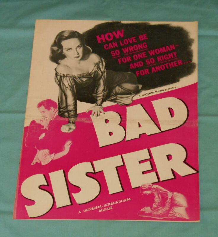 original BAD SISTER pressbook advertising manual