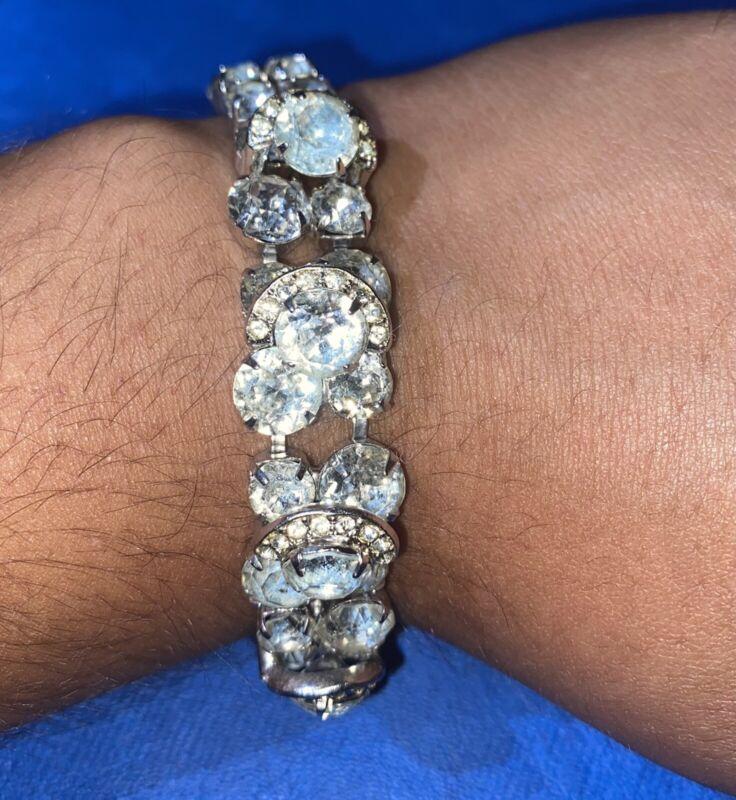 Vintage Eisenberg Ice Swarovski Crystal Double Link Silver Tone Bracelet