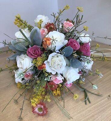 (Artificial Wedding Bouquet, Bride, Bridal, English Heath Wild Flower Display)