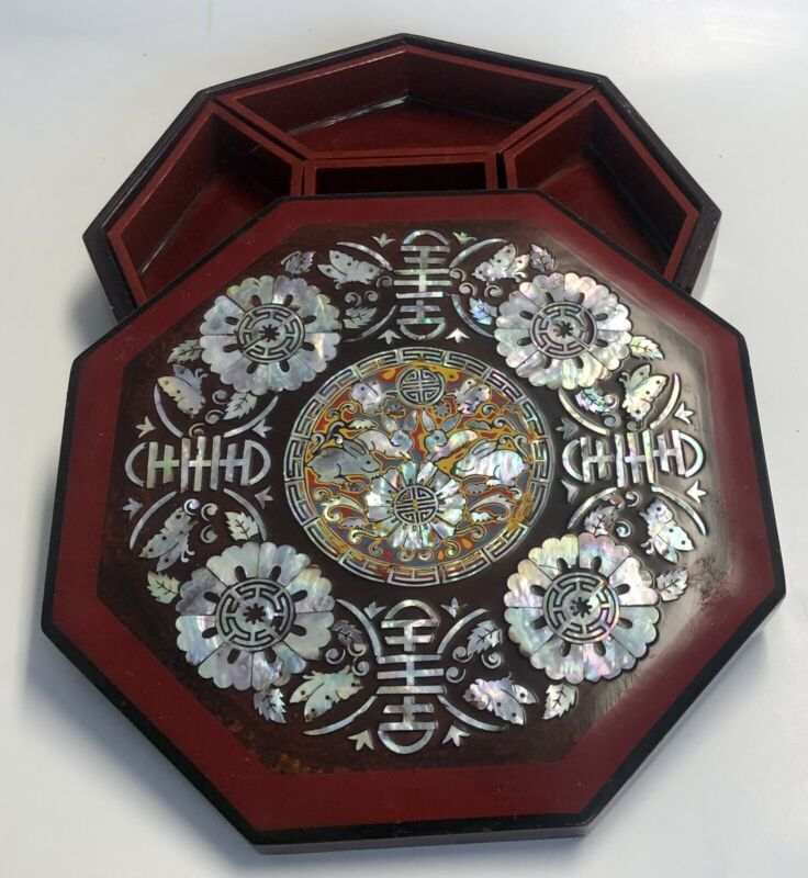 VINTAGE OCTAGON LACQUER BOX W/ MOTHER OF PEARL INLAY RABBIT DESIGN 5 COMPARTMENT