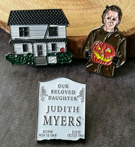 Halloween Michael Judith Myers and House PIN SET of 3 enamel