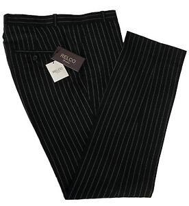 BCBG Paris Women's Wide Leg Black Pinstripe Dress Pants Trousers LPW2F Men's Black Wool Pinstripe Dress Pants High Quality Men Dress Pants Men Fashion Suit Pants Mens Black Dress Pants Pinstripes Big Size Hot Sales WD AA-in Casual Pants from Men's .