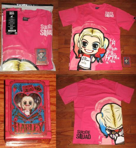 """RARE Hot Toys HARLEY QUINN """"SUICIDE SQUAD"""" COSBABY KEYCHAIN + SHIRT Size MEDIUM"""