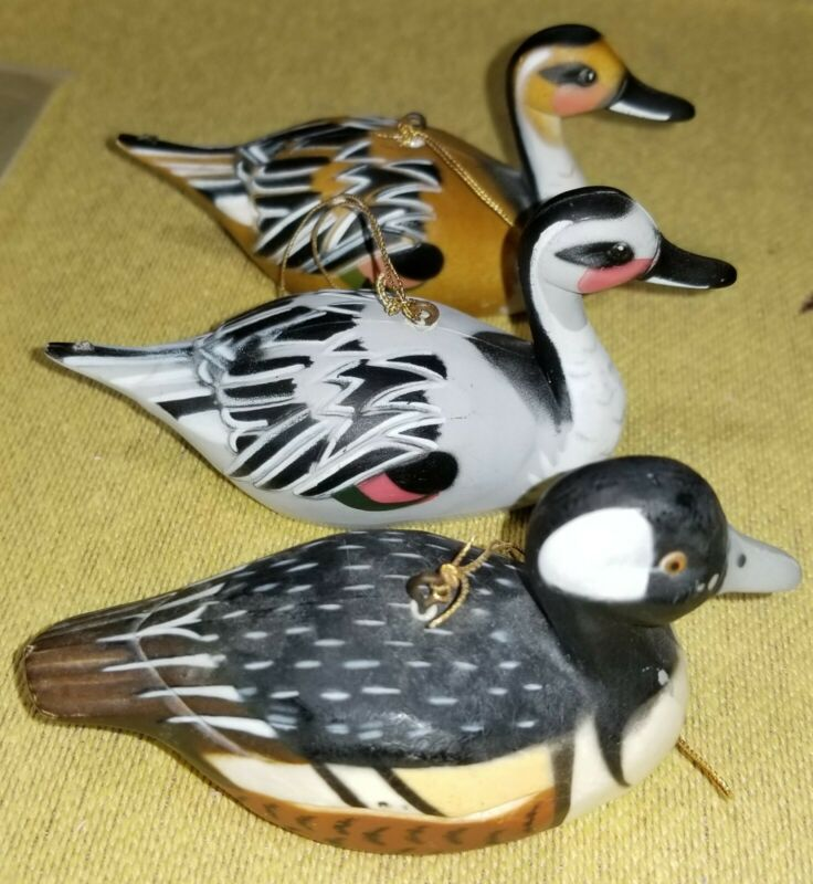 3 Piece Decoy DUCKS HARD PLASTIC (1 signed made in Hong Kong) Mini Figurines