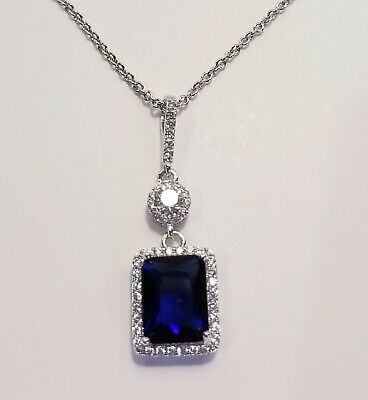 2.5 CARAT TW EMERALD CUT LAB CREATED SAPPHIRE & CZ HALO SOLITAIRE NECKLACE