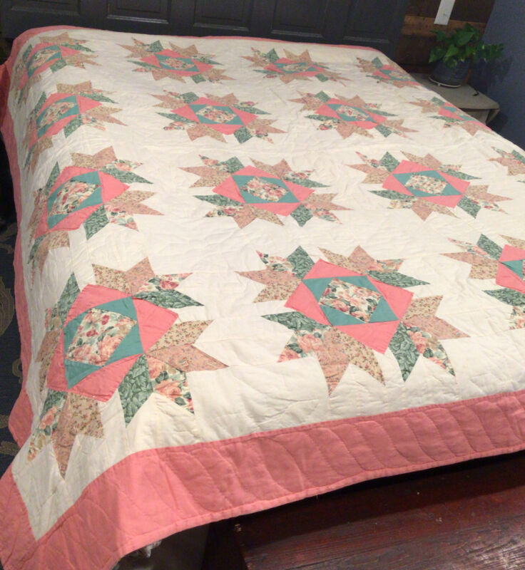 """Vintage Quilt Bear Paw Machine Stitched Hand Quilted 82"""" x 82"""""""