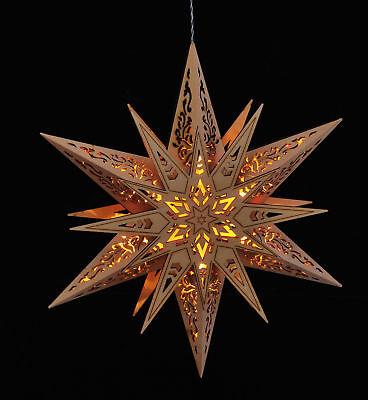 Holzstern Leuchtstern Weihnachtsstern Fensterbild beleuchtet 30cm, Batterie