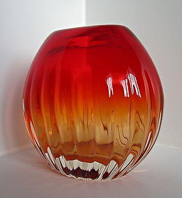 Schwere gerippte Überfang-Vase  Glas  Murano?  60er / 70er Jahre