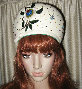 VTG-60s-STUNNING-DON-ANDERSON-HUGE-BEADED-BUBBLE-TOQUE-HAT-NEAR-MINT-SZ-22-5