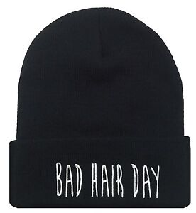 NEW-BAD-HAIR-DAY-CUFFED-BEANIE-SKULL-CAP-HAT-HIP-HOP-CAP-BLACK