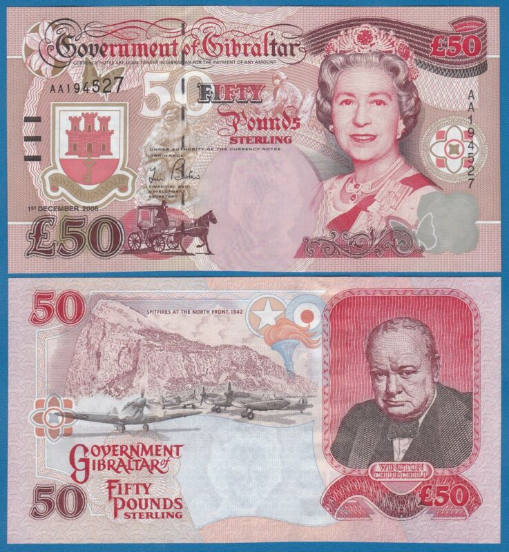 Gibraltar 50 Pounds P 34 2006 UNC CHURCHILL Low Shipping! Combine FREE! P-34a