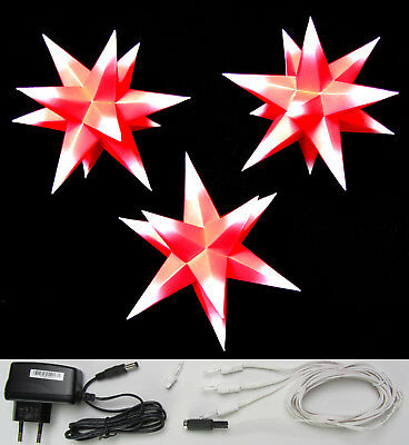 3D Adventsstern 3x kleine Sterne rot / weiß innen-SET Weihnachtsstern Erzgebirge