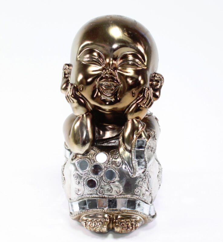 Feng Shui Bronze Happy Face Buddha Monk Electroplated Kasaya Home Decor Statues