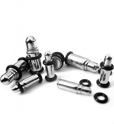 PAIR-Silver Bullet Steel Bullet Style Ear Plugs 06mm/2 Gauge Body Jewelry