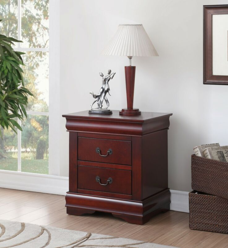 Cherry Finish Nightstand Bedside Table 2 Drawers End Side Accent Storage Bedroom