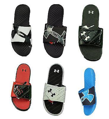 New Men's Under Armour Micro G EV Slide Sandals White Silver Black 4D Slider