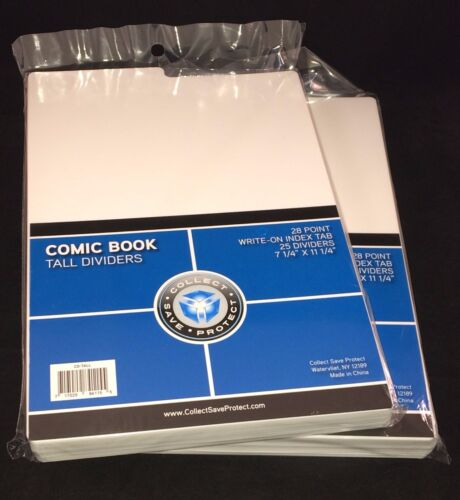 """(50) NEW CSP Acid Free White Tab Comic Book Tall Dividers for Comic Boxes 11.25"""""""