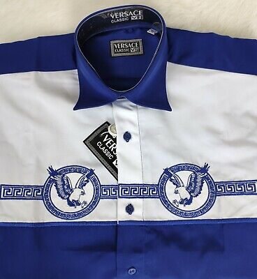 NWT VERSACE V2 Dress Shirt Embroidered Eagles Size M