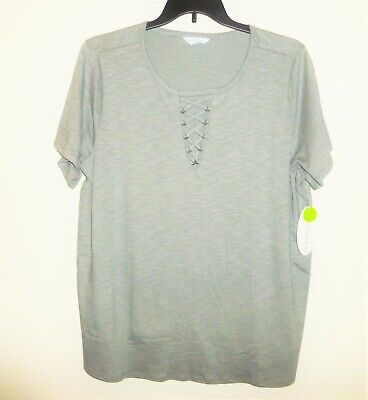 BOUTIQUE Short Sleeve, Cotton Blend, Open Braided V-Front, Knit Top NWT Size 2X  Blend Short Sleeve Top