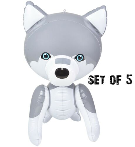 """(Set of 5) 24"""" Husky Inflatable - Baby Wolf Inflate Blow Up Toy Party Decoration"""