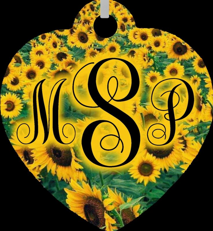 Personalized Custom Monogrammed Initials Sunflowers Metal Heart Necklace NEW