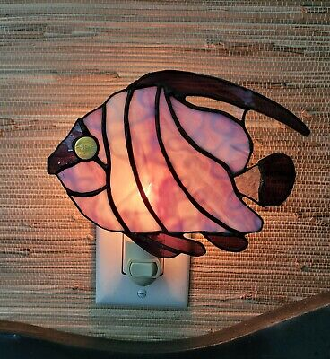 Vintage Stained GlassTropical Fish Night Light Wall Plug Decor Art